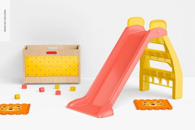Toboggan pour enfants avec maquette d'organisateur en bois