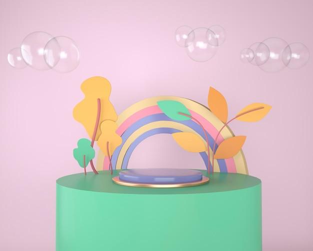 Toile de fond abstraite pour l'affichage des produits, podium avec arbres et plantes