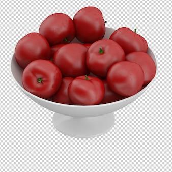 Tomate isométrique sur assiette