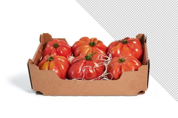 Tomates fraîches dans une boîte en carton recyclable, maquette