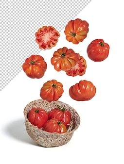 Tomates fraîches volant dans un bol, isolées du fond blanc