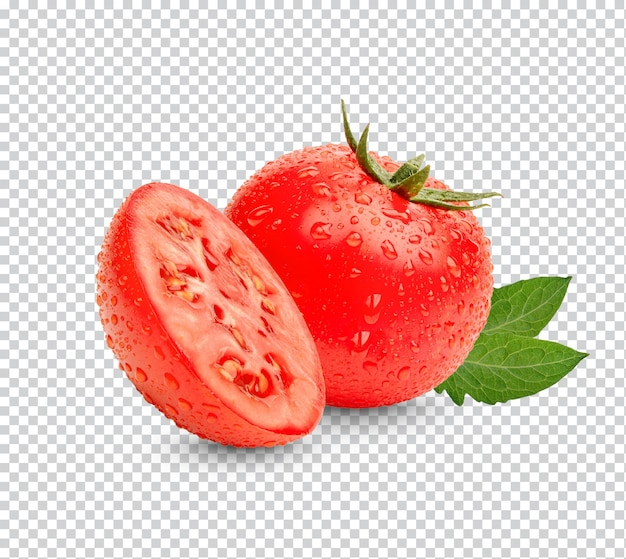 Tomates rouges fraîches avec des feuilles isolées