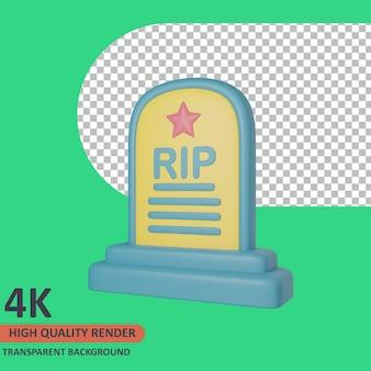 Tombstone 3d vétéran icône illustration rendu de haute qualité