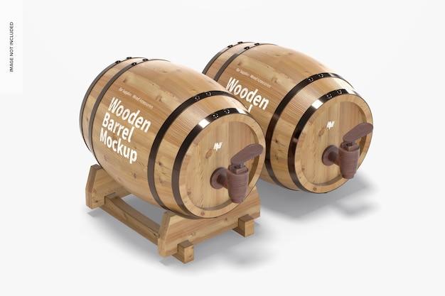 Tonneaux en bois sur maquette de support, vue de droite