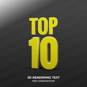 Top 10 du texte d'or 3d