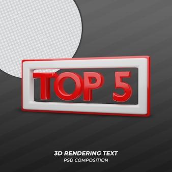 Top 5 du texte de couleur rouge de rendu 3d