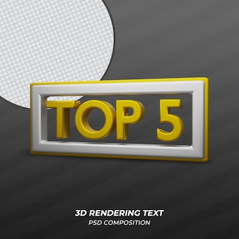 Top 5 du texte doré de rendu 3d