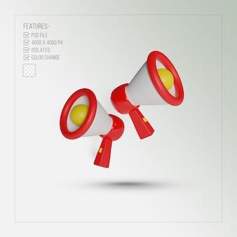 Tour de mégaphone rendu 3d réaliste rouge isolé