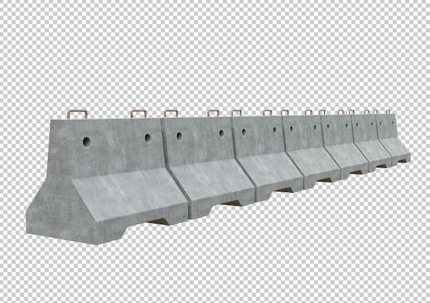 Trafic barrière en béton aligné