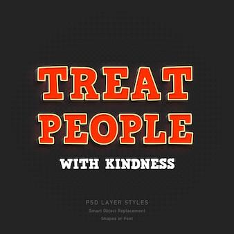Traitez les gens avec gentillesse quote3d text style effect psd