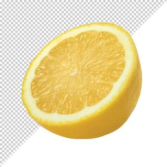 Tranche d'agrumes citron mûrs sur un fond transparent