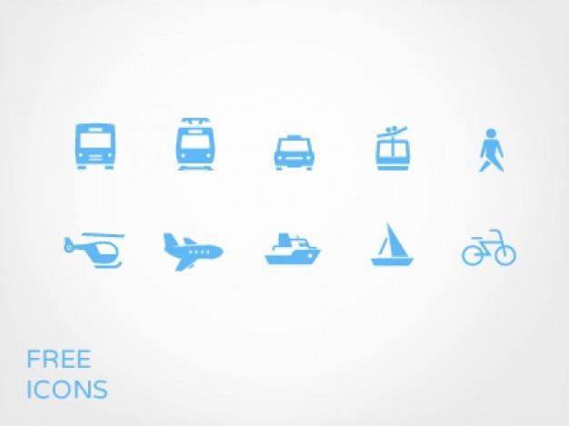 Le transport de petites icônes bleues psd