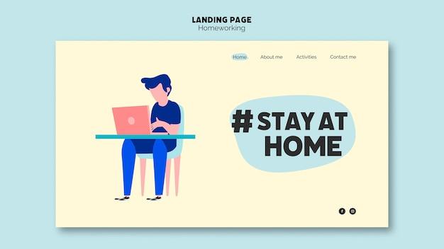 Travail à domicile sur la page de destination de l'ordinateur portable