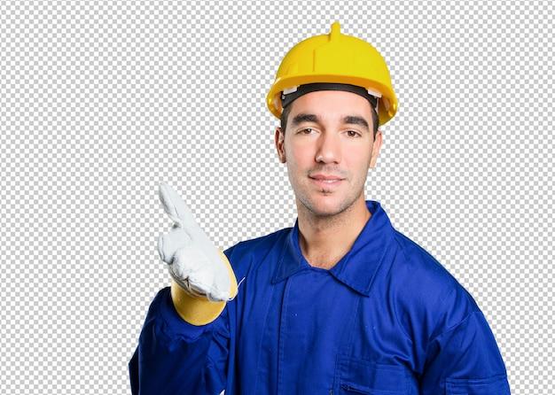 Travailleur confiant avec geste de poignée de main sur fond blanc