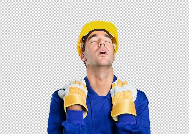 Travailleur fatigué sur fond blanc