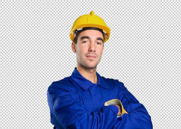Travailleur satisfait sur fond blanc
