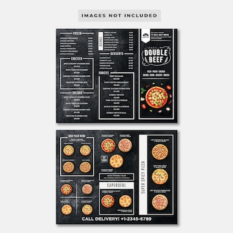 Trifold blackboard pizza menu template