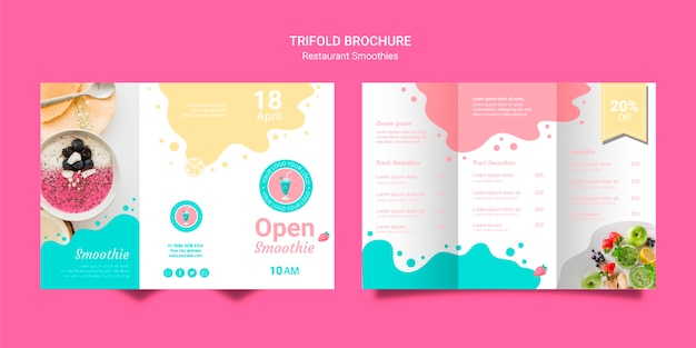 Trifold Smoothie Brochures Set Template Psd gratuit