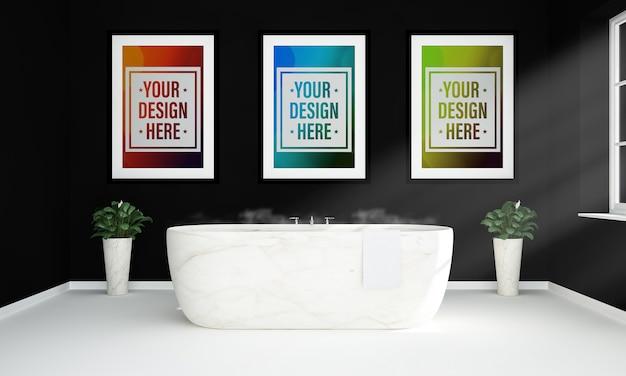 Trois affiches sur une maquette de salle de bain