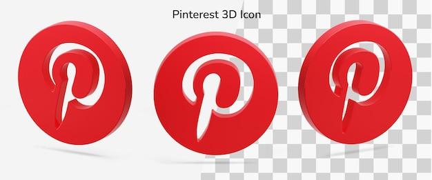 Trois éléments d'icône 3d de logo pinterest isolé flottant en isométrique