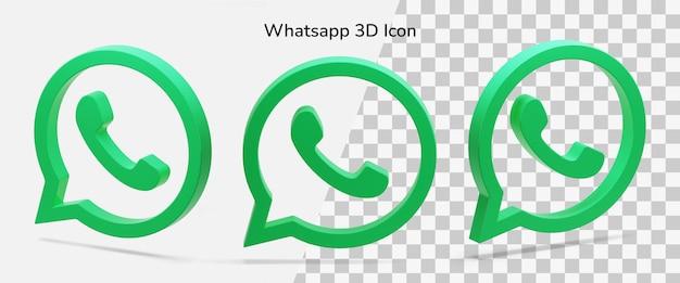 Trois éléments d'icône 3d de logo whatsapp flottant isolé