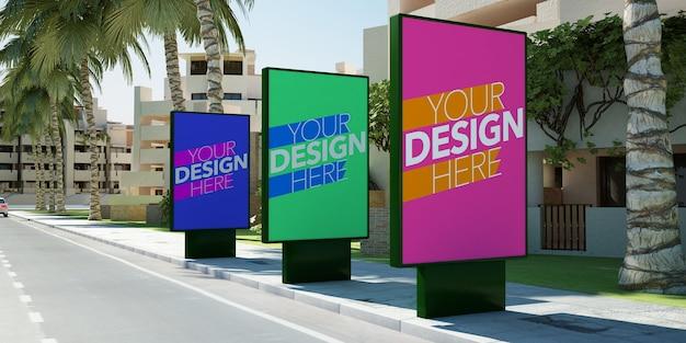Trois panneaux d'affichage dans la rue maquette