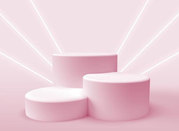 Trois podiums 3d pour la présentation des produits avec faisceaux lumineux