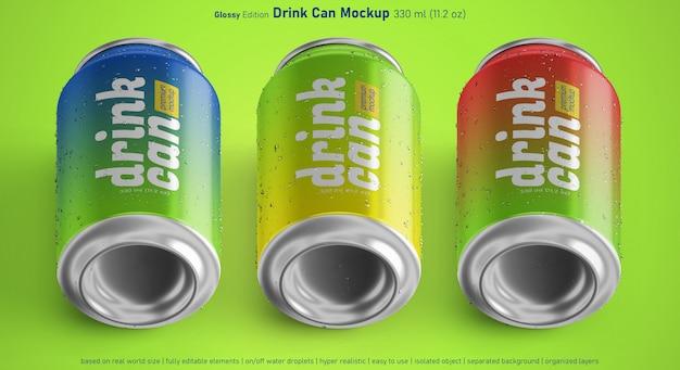 Trois variantes de maquette réaliste modifiable de canette de boisson en aluminium en 330 ml