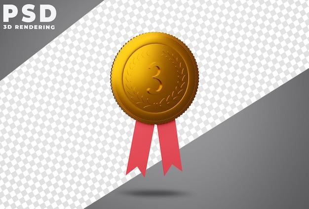 Troisième prix de la médaille de bronze rendu 3d