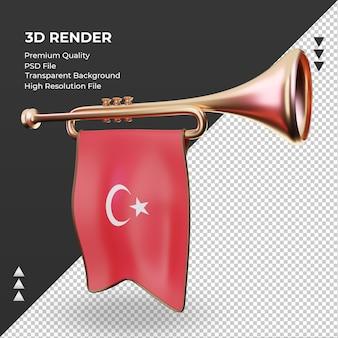 Trompette 3d drapeau turquie rendu vue de droite