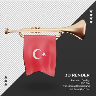 Trompette 3d drapeau turquie rendu vue de face