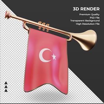 Trompette 3d drapeau turquie rendu vue gauche