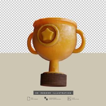 Trophée d'or de style argile avec icône étoile illustration 3d isolée
