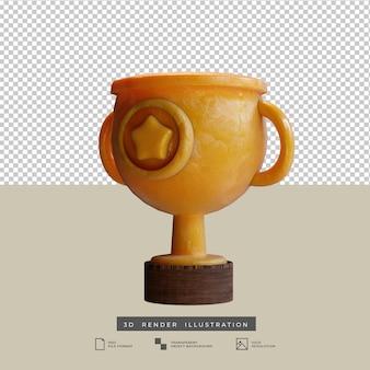 Trophée d'or de style argile avec icône étoile illustration de vue latérale 3d isolée