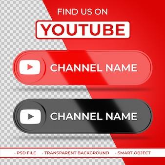 Trouvez-nous sur youtube icône 3d des médias sociaux avec le nom de la chaîne
