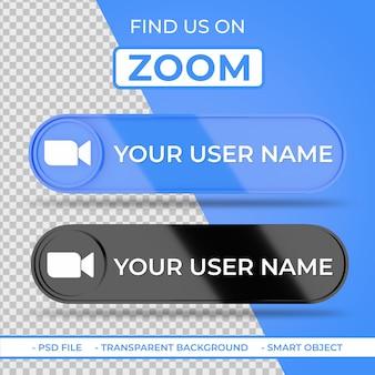Trouvez-nous sur zoom icône 3d des médias sociaux avec nom d'utilisateur