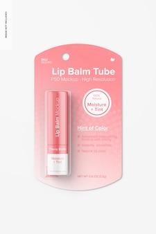 Tube de baume à lèvres sur maquette de blister