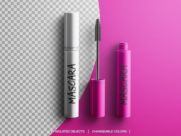 Tube cosmétique mascara maquillage brosse emballage vue de dessus isolé
