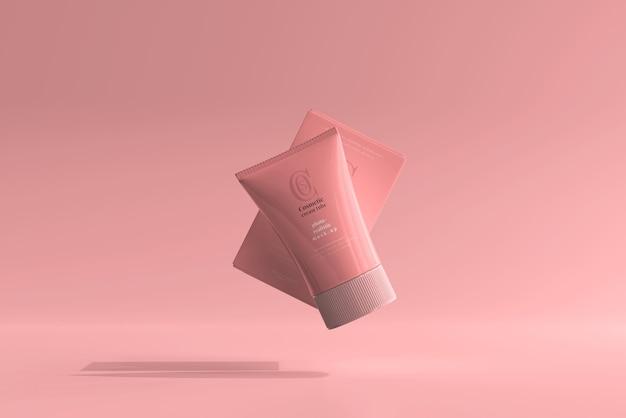 Tube de crème cosmétique avec maquette de boîte