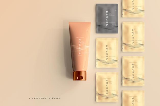 Tube de crème cosmétique et maquette de sachet