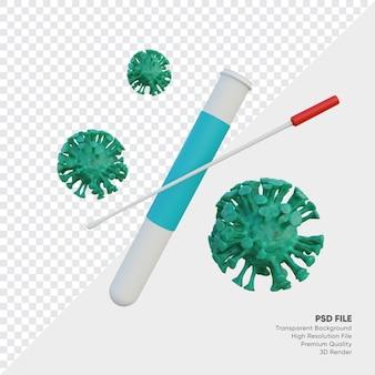 Tube à essai et coton-tige avec illustration 3d du virus corona