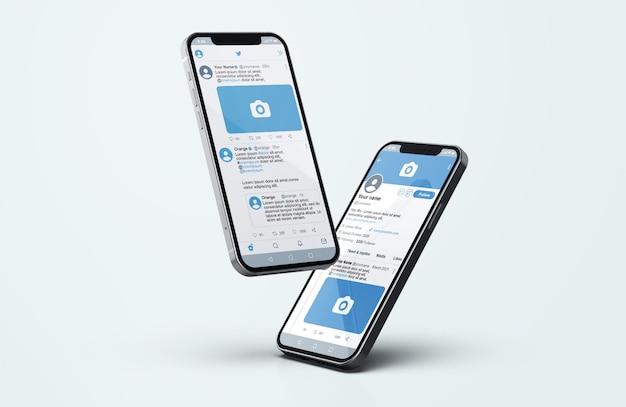Twitter sur la maquette de téléphone mobile en argent