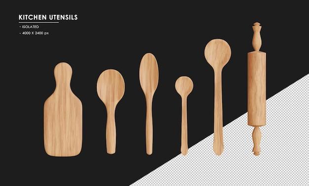 Ustensiles de cuisine en bois isolés