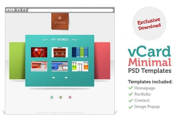 V carte de site minimale psd modèles