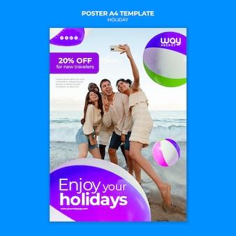 Vacances avec modèle d'affiche de réduction