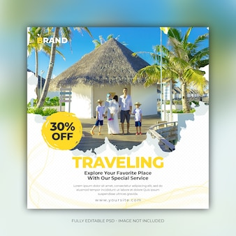 Vacances de voyage carrées pour modèle de bannière de publication de médias sociaux instagram