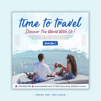 Vacances de voyage pour les médias sociaux instagram poster modèle de bannière premium