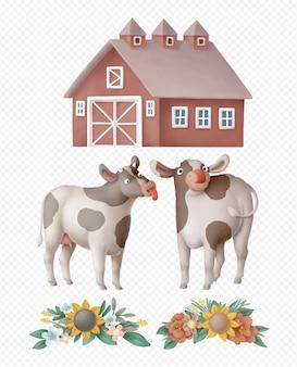 Vaches dessinés à la main isolés