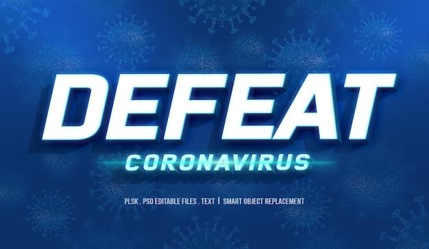 Vaincre la maquette d'effet de style de texte 3d coronavirus