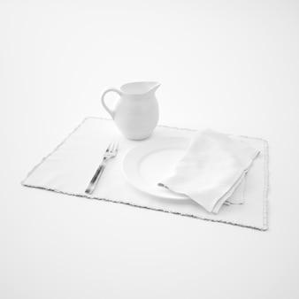 Vaisselle, fourchette et serviette